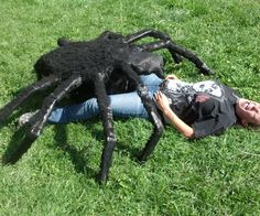 "This is Hellga, the giant spider.  she is created with wire mesh, about 2 rolls of the 24"" stuff wire, for putting her together news paper duct tape flour (for paper mache) black spray paint a bag of black spider web material some type of glue"