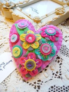 bright and pretty felt heart pin cushion
