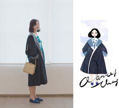 Nancy Zhang - Melvin &Hamilton Flats, Comme Des Garçons Coat, Jil Sander Top - Afternoon at Museum.