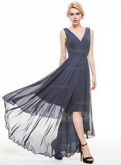 [US$ 99.99] A-Line/Princess V-neck Asymmetrical Chiffon Evening Dress With Ruffle (017086909)