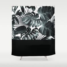 Palm Leaves and Black Shower Curtain