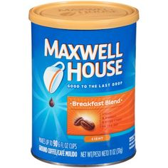 3 Cans - Maxwell House Breakfast Blend Ground Coffee - 11 oz Cannister Each Maxwell House Coffee, Coffee Ingredients, Nitro Coffee, Coffee Canister, Real Coffee, Dark Roast, Blended Coffee, Cream And Sugar, Coffee Roasting