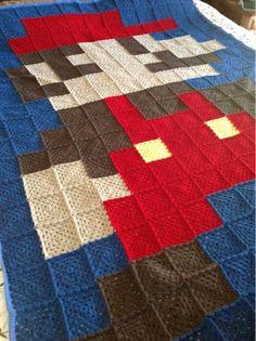 Crochet Mario blanket