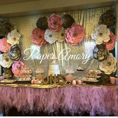 Customer Share of a 20 pack Pink, Champagne and Ivory paper flower set for a Carousel themed birthday. Loved how they setup the whole table and the flowers on the draping.