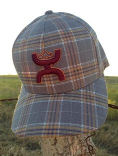 HOOey Grey Plaid with Maroon HOOey Hands Up Logo Outlined in Orange. HOOey scoreline logo embroidered in maroon on the back of the hat.  Flexfit fitted style. Elastic band. Sizes: S/M or L/XL