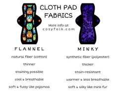 Cloth Menstrual Pads 10 Moderate Set of 5 by CozyFolk on Etsy Sewing Hacks, Sewing Crafts, Sewing Projects, Sanitary Napkin, Sanitary Towels, Mama Cloth, Menstrual Pads, Cloth Pads, New Crafts