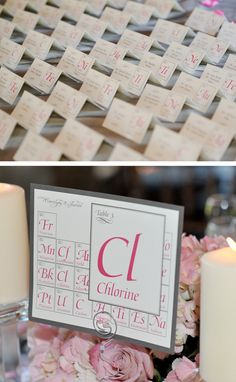 I've been looking for some inspiration on cute ways to do place cards. I'm going to switch out the elements for pictures of scientists!