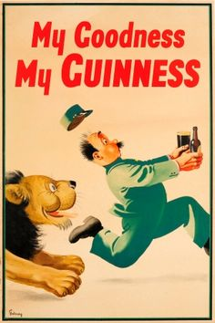 My Goodness My Guinness Zoo Lion, 1937 - original vintage Guinness advertising poster by John Gilroy (John Thomas Young Gilroy) listed on AntikBar.co.uk