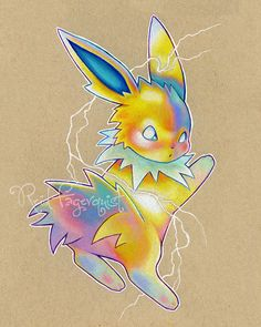 Colorful Jolteon art PRINT 8x10 inches signed by ArtbyReid on Etsy