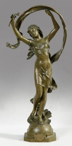 """Mathurin Moreau (1822-1912), """"La Rosee,"""" c. 1900, Art Nouveau bronze"""