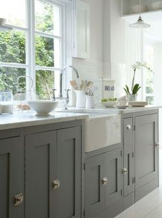 staci edwards blog :: {inspired by life}: Grey Kitchen Cabinets I'm soo ready to do this! I've had a dark kitchen for over a decade and I'm ready to lighten it up....like YESTERDAY! :-)