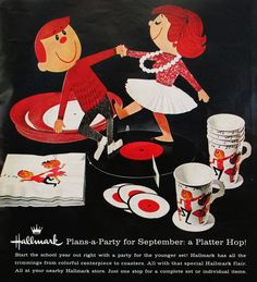 """TEENAGE PARTY 1961: From Hallmark, everybody's favorite greeting card giant, comes this teenage record party kit! """"Start the school year out right with a party for the younger set!"""" boasted the ad for this set of plates, napkins, coasters and the trimmings for a cool teenage dance party!"""
