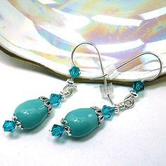 Swarovski Jade Pearl and Indicolite Crystal Sterling Silver Earrings   KatsAllThat - on ArtFire
