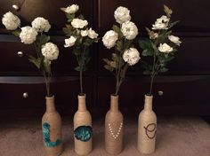 Twine wrapped Letter bottles