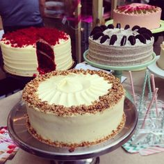 Irresistible Sweet Tooth Factory cakes at the Caffe Culture Show - red velvet, carrot and walnut, Oreo chocolate, plus raspberry, pistachio and rose