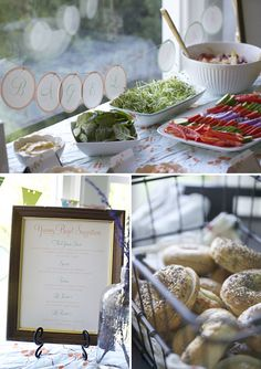 bagel station, various bagels, spreads and a toaster Bagel Bar, Bagel Shop, Bagel Sandwich, Sandwich Spread, Brunch Party, Brunch Wedding, Pink Mason Jars, Champagne Brunch, Party Entertainment