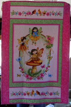 "This lovely fairy lap quilt will bring many smiles to any child.  It measures 40""x28"".  Don't miss out on this one."