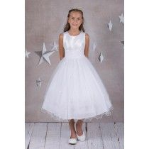 Sleeveless First Communion Dress with Beaded Sequin Bodice -Shop First Communion Dresses Girls First Communion Dresses, Holy Communion Dresses, First Holy Communion, Size 16 Dresses, Dresses For Sale, Bodice, White Dress, Flower Girl Dresses, Sequins