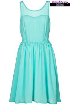 ROMWE | Sleeveless Mint Pleated dress, The Latest Street Fashion #ROMWEROCOCO