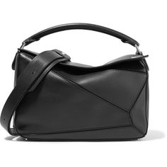 Loewe Puzzle leather shoulder bag ($2,350) ❤ liked on Polyvore featuring bags, handbags, shoulder bags, black, zipper tote, leather shoulder bag, leather tote bags, leather handbag tote and leather shoulder handbags