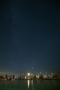 Milky Way, Crescent moon, Venus, Jupiter, Kushimoto, Wakayama, Japan