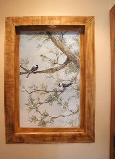 Trompe L'Oeil Windows and Niches | Niche - Chickadee with Faux wood framing (Click on photos to enlarge)
