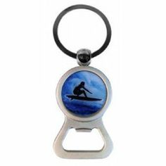"""Bottle Opener Key Chain - Surfer by tikimaster. $4.40. Surfer. This handy bottle opener has a key ring perfect for carrying around when you're on the go. Measures approximately 3.5""""."""