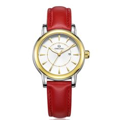 86.16$  Buy here - http://ali4ig.worldwells.pw/go.php?t=32773767705 - Omelong Fashion High Quality Genuine Leather Women watches Red Strap 50M Waterproof Wristwatch for Ladies Clock reloj mujer