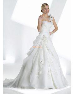 Traîne mi-longue Épaule asymétrique Zip Robes de mariée 2014