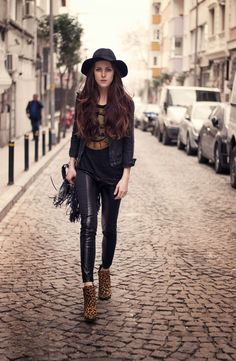 graphic shirt with animal print boots