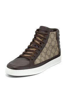 GG+Supreme+Canvas+High-Top+Sneaker,+Brown+by+Gucci+at+Neiman+Marcus.