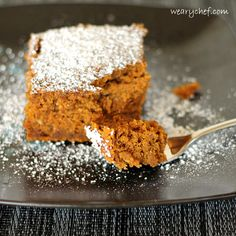 3-Ingredient Spiced Rum Pumpkin Cake-WearyChef  Delicious spiked fall recipe #pumpkin, #rum.  Sub GF gingerbread box mix