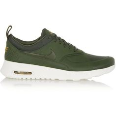 Nike Air Max Thea Premium leather sneakers ($140) ❤ liked on Polyvore featuring shoes, sneakers, flats, nike, green, perforated leather sneakers, leather flat shoes, nike sneakers, leather flats and nike footwear