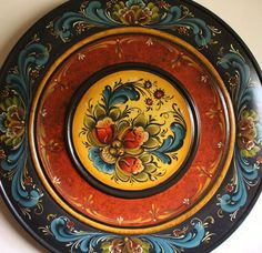 "Beautiful Norwegian Rosemaling in Telemark Style on 16"" Plate"