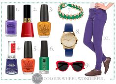 "PYP TRENDING TIPS REPORT: COLOUR WHEEL WONDERFUL  1. Color Club – Pucci-Licious  2. Revlon – Revlon Red  3. OPI – The ""It"" Color  4. Revlon Top Speed – Royal  5. OPI – On The Same Paige  6. CND – Green Scene  7. Ashiana Cord And Gold Bead Woven  Friendship Bracelet  8. ASOS Patent Colour Watch  9. Selima Sun For J.Crew Sophia    Sunglasses  10. Forever 21 Destroyed Skinny Jeans"