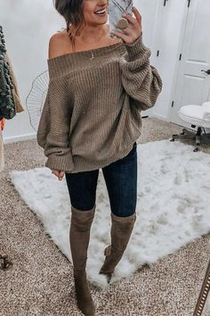 Women Gray Off Shoulder Multiway Dolman Relaxed Slouchy Waffle Knit Sweater Top