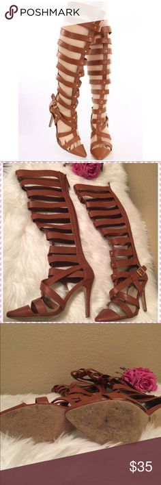 """💎 Knee High Heels Brown Gladiator Boots💎 💎Barely Used in good condition. Approx: 15"""" length from knee to ankle. High heels: 4"""". 💎 Breckelles Shoes Lace Up Boots"""