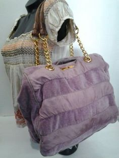 Juicy-Couture-Large-Purple-Lavender-Rug-By-Stripe-Chain-Link-Shoulder-Bag