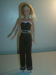 Crochet for Barbie (the belly button body type): Chocolate Colored Slacks
