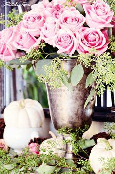 TIDBITS&TWINE--Pink-Roses-and-White-Pumpkin-Mantel