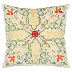 Set of two pillows with a multicolor kaleidoscopic motif.    Product: Set of 2 pillowsConstruction Material: PolyesterColor: White and multiFeatures: Inserts includedDimensions: 18 x 18 eachCleaning and Care: Dry cleaning recommended