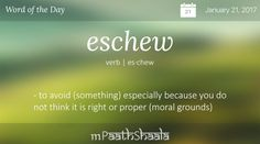 Definitions, Synonyms & Antonyms of eschew – Word of the Day