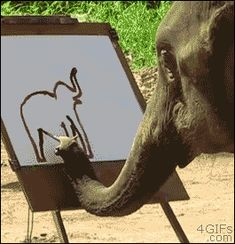 elephant drawing himself