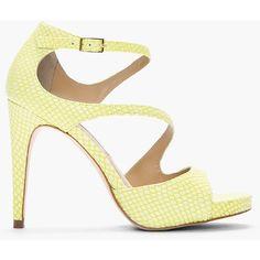 DIANE VON FURSTENBERG Lime Green Snakeskin Jujette Heeled Sandals ($300) ❤ liked on Polyvore