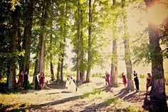 probably not all the same poses for bridesmaids and groomsmen, but our ceremony location looks a lot like this, so some pictures with the whole group spread out like this would be cool