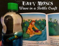 Check out this Baby Moses wave in a bottle- Baby Moses float in his basket right between the water and the oil. Very cool Bible craft for kids!