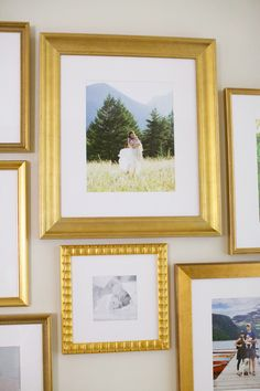 Lovely photo #GalleryWall from Pink Peonies in a selection of our gold frames.