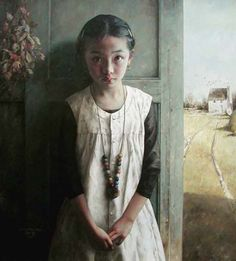 Young girl portrait by Chinese artist Zhao Kai Lin, influenced by andrew wyeth