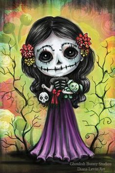 Sugar Girl, inspired by Day of the Dead by Diana Levin Art Find more cool prints on my website. Day Of The Dead Drawing, Day Of The Dead Artwork, Sugar Skull Artwork, Sugar Skulls, Candy Skulls, Sugar Skull Painting, Halloween Art, Halloween Stuff, Vintage Halloween