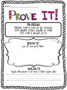 PROVE IT! {3RD GRADE COMMON CORE MATH PROBLEMS} Love the feedback on these...really gets students thinking!